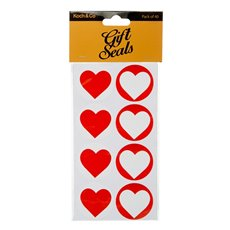Gift Tags & Labels - Gift Seal Heart Round 4.5cmD Gloss Red 40pcs