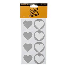 Gift Seal Heart Round 4.5cmD Gloss Silver 40pcs