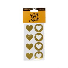 Gift Tags & Labels - Gift Seal Heart Round Gloss Gold (3.5cmD) Pack 40