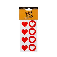 Gift Tags & Labels - Gift Seal Heart Round Gloss Red (3.5cmD) Pack 40