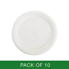 Party Tableware - Sugarcane Lunch Plate White (18cm) Pack 10
