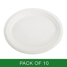 Party Tableware - Sugarcane Oval Plate White (32x26cm) Pack 10
