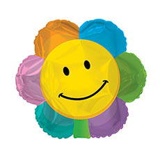 Foil Balloons - Foil Balloon 17 (42.5cm Dia) Flowe Smiley Face Flower Shape