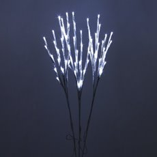 LED Decorations - LED Branch with Seed Lights 240V Set of 3 White (70cmH)