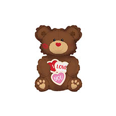 Foil Balloons - Foil Balloon I Love You Cookie Bear (7.75Wx12H)