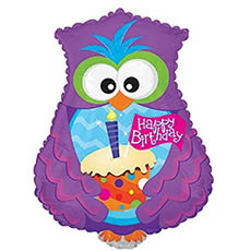 Foil Balloons - Foil Balloon 19 (48.26cm) Owl Shape Happy Birthday