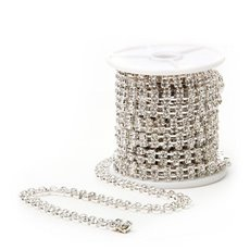 Corsage Beaded Florist Wire - Decor Twin Diamante Chain Roll 1440 Stones Silver (4.6m)