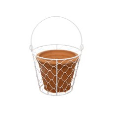 Terracotta Pot with White Mesh Basket (15cmDx27cmH)