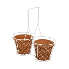 Double Terracotta Pots with White Mesh Basket (30x15x31cmH)