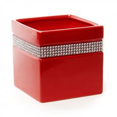 Ceramic Cube Modern Diamante Tiara 13x13x13cmH Red