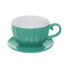 Ceramic Cup Pot with Saucer Tiffany Blue (17.5Dx13cmH)
