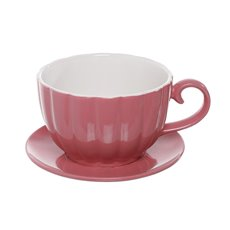 Large Flower Pots & Planters - Ceramic Cup Pot with Saucer Pink Drainage Hole 17.5Dx13cmH