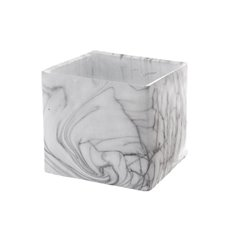 Ceramic Marble Look Pot Cube (17x17x15.5cmH)