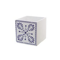 Cement Tile Pattern Cube Pot Navy Blue (13x13x13cmH)