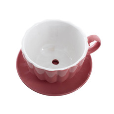 Ceramic Tea Cup Pot Saucer Pink Drainage Hole 15Dx10cmH