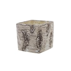 Ceramic Cube Pot Birch Look Brown (15x15x14cmH)