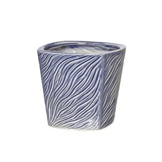 Ceramic Trend Square Taper Pot Navy Blue (14.5cmx14cmH)