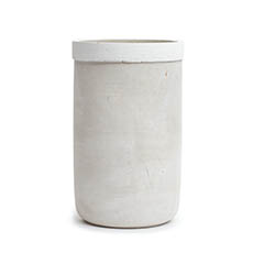 Ceramic Vase - Modern Cement Cylinder Grey with White Opening (15x25cmH)