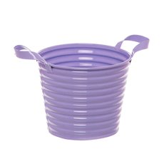 Country Tin Metal Bucket with Handles Lavender (13Dx11cmH)