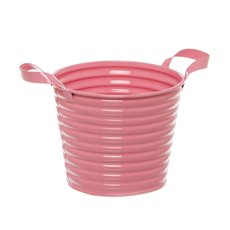 Country Tin Metal Bucket with Handles Soft Pink (13Dx11cmH)