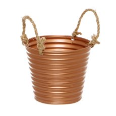 Tin Buckets Pail side handles - Rustic Tin Metal Bucket Rope Handles Copper (13Dx11cmH)
