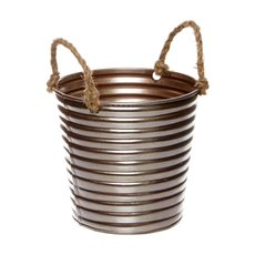 Tin Buckets Pail side handles - Rustic Tin Metal Bucket Rope Handles Rose Gold (13Dx11cmH)