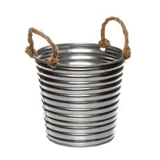 Tin Buckets Pail side handles - Rustic Tin Metal Bucket Rope Handles Silver (13Dx11cmH)