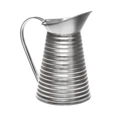 Tin Metal Watering Can & Jug - Rustic Tin Metal Pitcher Silver (12Dx21cmH)