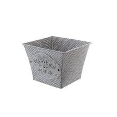 Tin Metal Deco Planters - Country Rustic Tin Metal Square Pot (15.5x15.5x11.5cmH) Zinc