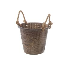 Tin Buckets Pail side handles - Country Rustic Tin Metal Bucket Pot (17.5x14cmH) Gold