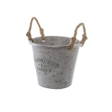 Tin Buckets Pail side handles - Country Rustic Tin Metal Bucket Pot (17.5x14cmH) Zinc