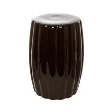 Ceramic Ribbed Stool Black (34.5Dx48cmH)