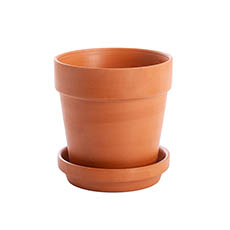 Large Flower Pots & Planters - Terracotta Pot with Drainage Hole and Plate (13cmDx13cmH)