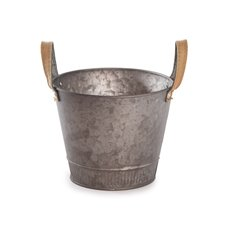Tin Buckets Pail side handles - Logan Rustic Tin Metal Bucket Pot Cooper (17.5x14cmH)