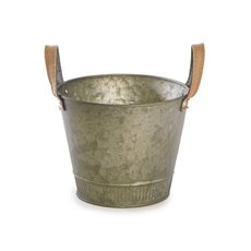 Tin Buckets Pail side handles - Logan Rustic Tin Metal Bucket Pot Gold (17.5x14cmH)