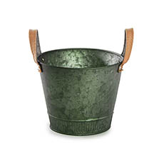 Tin Buckets Pail side handles - Logan Rustic Tin Metal Bucket Pot Hunter Green (17.5x14cmH)