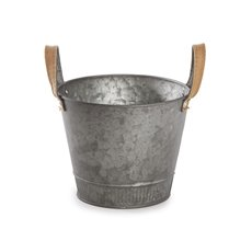 Tin Buckets Pail side handles - Logan Rustic Tin Metal Bucket Pot Zinc Sliver (17.5x14cmH)