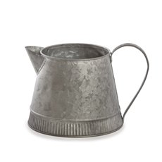Tin Metal Watering Can & Jug - Logan Metal Watering Jug Zinc Silver (12Dx13cmH)