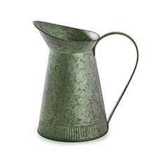 Tin Metal Watering Can & Jug - Logan Rustic Tin Metal Watering Jug Green (12Dx22cmH)