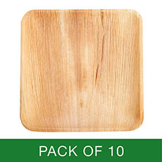 Party Tableware - Palm Leaf Square Plate (25cm) Pack 10