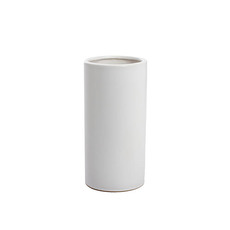 Satin Matte Collection - Ceramic Cylinder Vase Satin Matte White (10x20cmH)