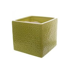 Ceramic Tile Cube (16x16x15cmH) Green