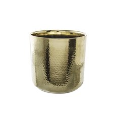 Metallic Pots - Ceramic Metallic Cylinder Pot Brass Gold (15.5x15cmH)