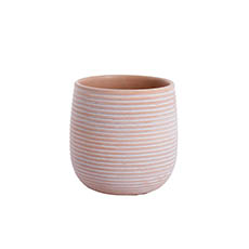 Trend Ceramic Pots - Ceramic Belly Ribbed Round Pot Terra Pink (15.5x15.5cmH)