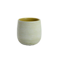 Trend Ceramic Pots - Ceramic Belly Ribbed Rnd Pot Asparagus Green (15.5x15.5cmH)