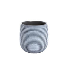 Trend Ceramic Pots - Ceramic Belly Ribbed Round Pot Dark Grey (15.5x15.5cmH)
