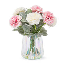 Artificial Flower Arrangements - Artificial Carnation Flower Vase Arrangement (30cmH) White