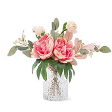 Artificial Flower Arrangements - Artificial Peony & Eucalyptus Vase Arrangement (35cmH) Pink