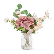 Artificial Flower Arrangements - Artificial Hydrangea & Ranunculus Vase Arrangement (40cmH)