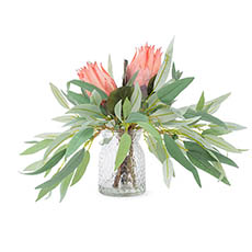 Artificial Flower Arrangements - Artificial Queen Protea & Eucalyptus Vase Arrangement 38cmH